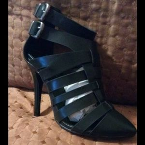 Black Gladiator Bootie with zipper back